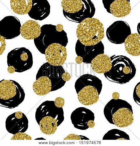 Golden Glitter Texture With Hand Draw Black,golden, Circles Seamless Pattern In Gold Style .