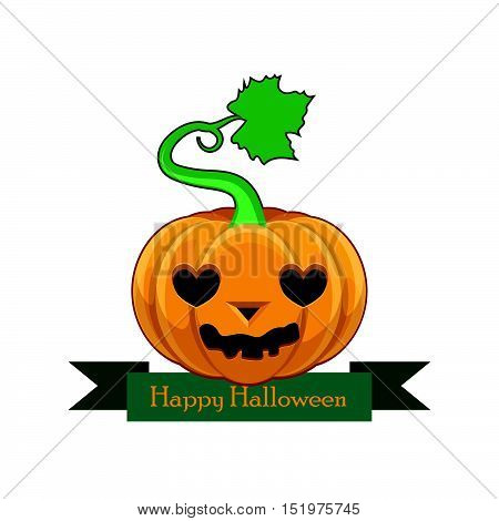 Pumpkin With Happy Halloween Banner - Lovestruck Face