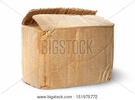 Worn old cardboard box isolated on white background