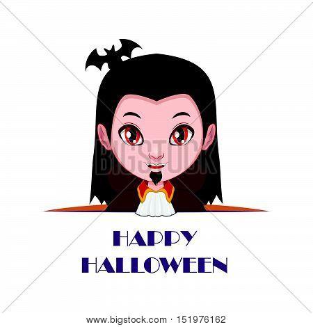 Vampire Peeking Out With Happy Halloween Text Beneath Him