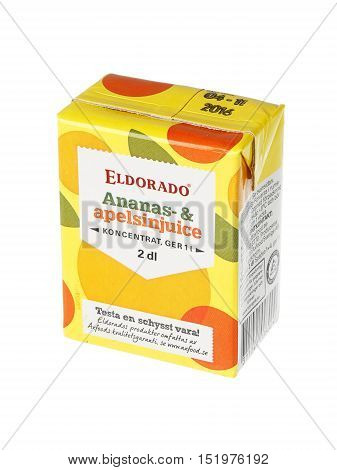 Stockholm, Sweden - May 6, 2016: An unopened pack of 2 dl of concentrated Eldorado juice from pineapple and orange for the Swedish market isolated on white background.