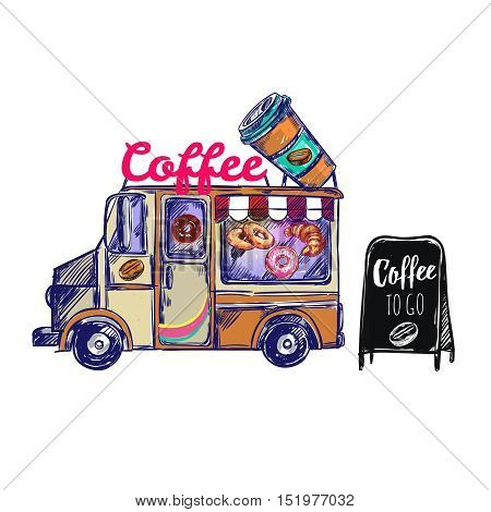 Colored coffee shop outdoor composition with coffee truck and coffee to go on black board vector illustration