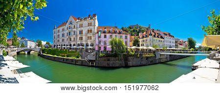 Ljubljana on green Ljubljanica river panorama capital of Slovenia