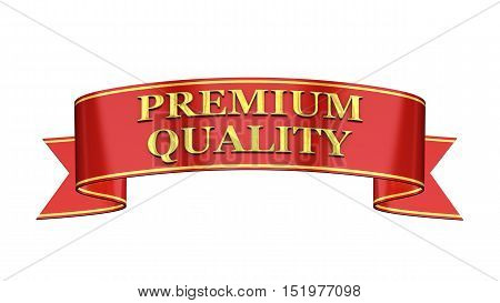 Red and gold promotional banner Premium quality , 3d illustration