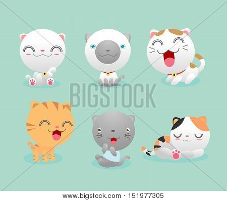 Set Cute Cat, Set of cute cartoon kitties, Set of cute kitten,Vector Illustration Cartoon.