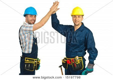 Happy Constructor Workers High Five
