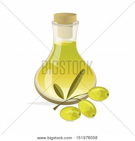 Olive ingredient healthy food vector. Branch with olives and bottle of olive oil.