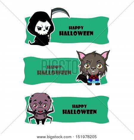 Cute Halloween Monster Banners - Reaper, Werewolf, Spider