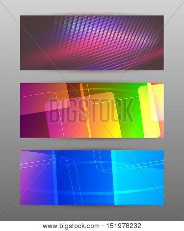 Set Horizontal Banner Headline Abstract Glow Lines06