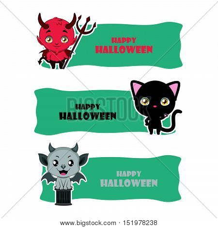 Cute Halloween Monster Banners - Devil, Black Cat, Gargoyle