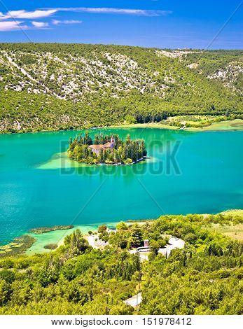 Visovac lake island monastery aerial view Krka national park Croatia