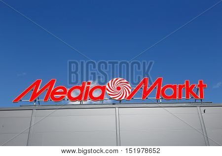 Lulea, Sweden - July 19, 2016: Close-up of the consumer electronics retailer Media Markt sign.