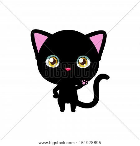 Cute little cartoon black cat waving illustration