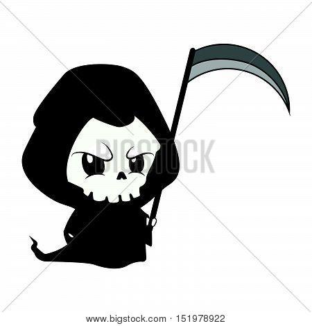 Cute but menacing reaper illustration art in flat color