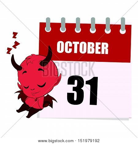 Little Devil Sleeping Next To Calendar Depicting October 31