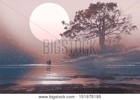 love couple in winter landscape with huge moon above, illustration painting