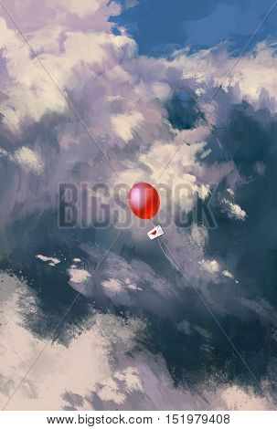 red balloon with love letter envelope floating through the clouds, illustration painting