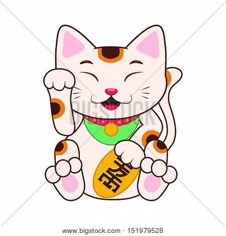 Cute cartoon Maneki neko illustration art in flat color