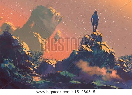 man standing on top of the hill watching the stars, illustration painting