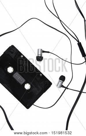 Audio Cassette And Headphones.