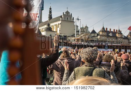 Czestochowa Poland - October 15 2016: United Atonement all-day prayer meeting people from all over Polish who repented of his sins and his compatriots before the top Jasna Gora. Prayer Chaplet of Mercy!