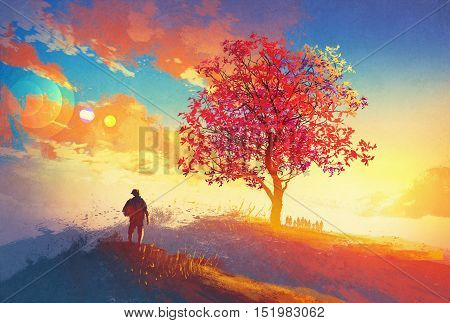 autumn landscape with alone tree on mountain, coming home concept, illustration painting