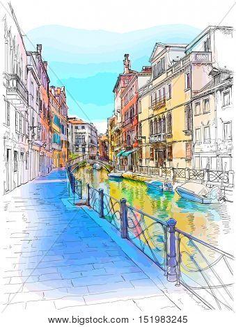 Venice - Fondamenta Rio Marin. Color drawing