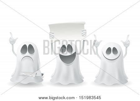 Set of funny halloween ghosts Vector illustration