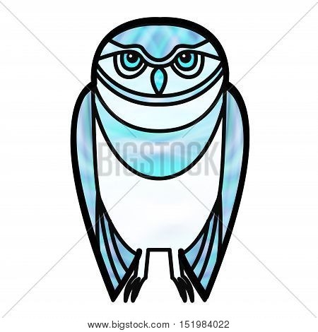 Blue burrowing owl drawn in simple tribal style with a stained glass effect.