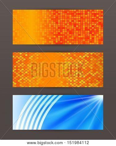 Set Horizontal Banner Headline Abstract Glow Lines13