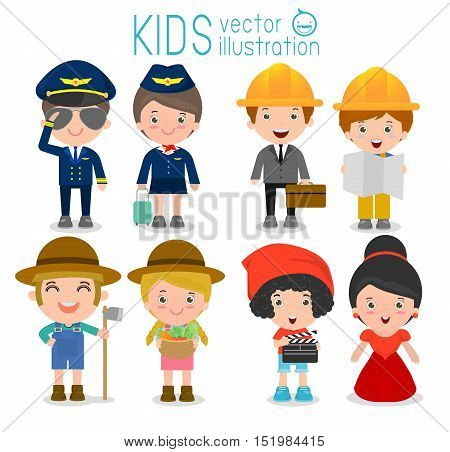professions for kids,set of cute professions for kids isolated on white background, pilot,air hostess, engineering,farmer,director,celebrities, Children's dream jobs, Vector Illustration