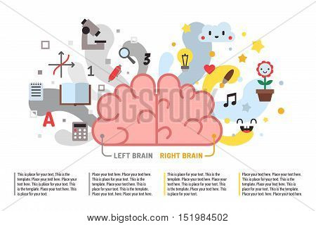 Left and right brain vector fun illustration with place for your text. Modern flat minimal style.