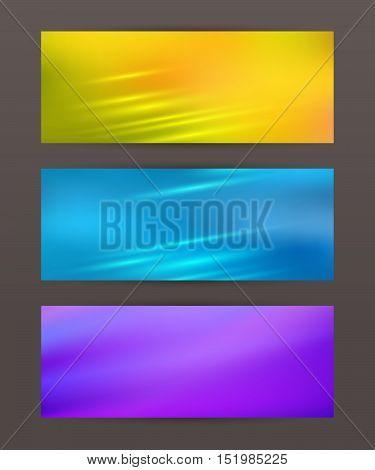 Set Horizontal Banner Headline Abstract Glow Lines17