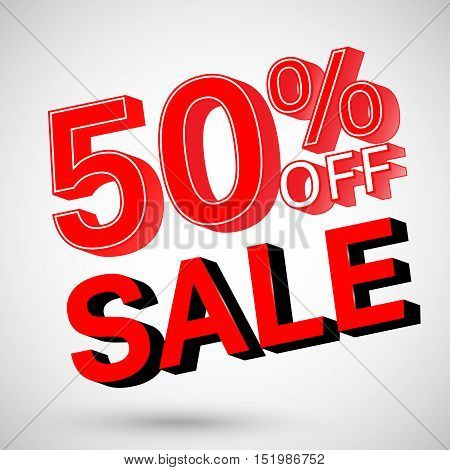 Discount 50 percent off and sale. Design element for promotion, sale, advertising flyer or banner. Vector illustration.