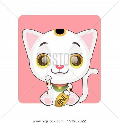 Cute little manekineko illustration - kanji symbol on coin meaning good fortune