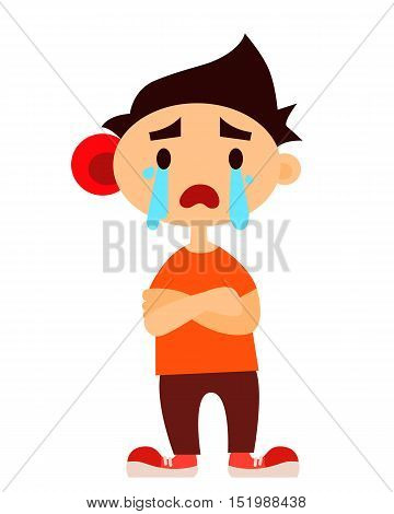 Crying boy isolated on white background. Earache. Vector illustration