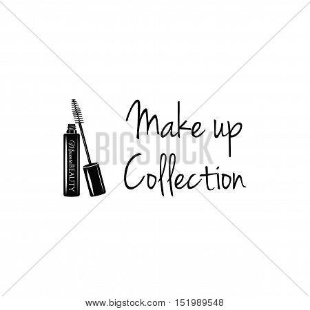 Beauty Salon Label. Mascara for Eyelashes. Eye Makeup. Badge. Make Up Collection. Vector Illustration. Isolated