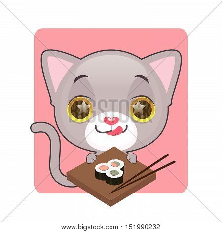 Cute gray cat eager to eat sushi