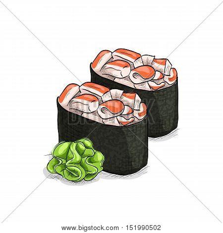 Vector sushi color sketch, Gunkan Spicy Ebi