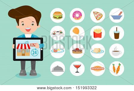 Order food online, online ordering and fast food delivery service, Network and delivery,business restaurant concept, searching for recipes, ordering food online,vector illustration