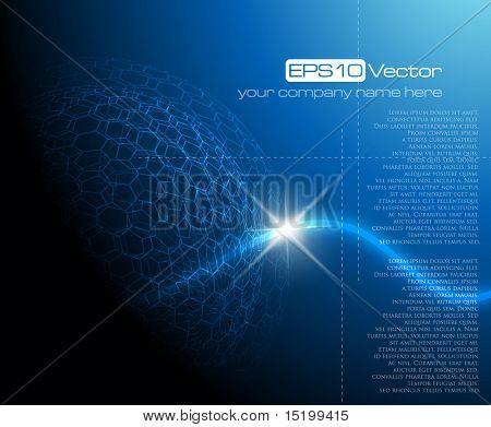 Blue technology background - vector illustration