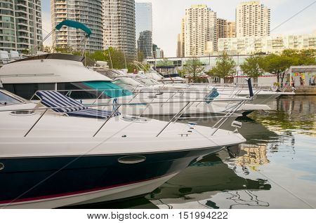 Boats on the waterfront marina in downtown Toronto