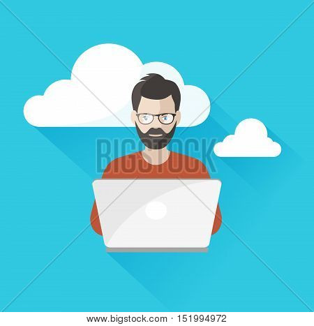On the image presented  man working  at the computer using cloud computing