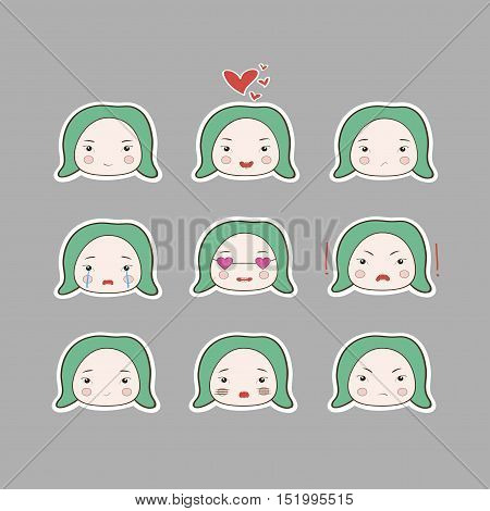 Cute Simple Drawing Style Green Turquoise Hair Baby Girl Emotions Set
