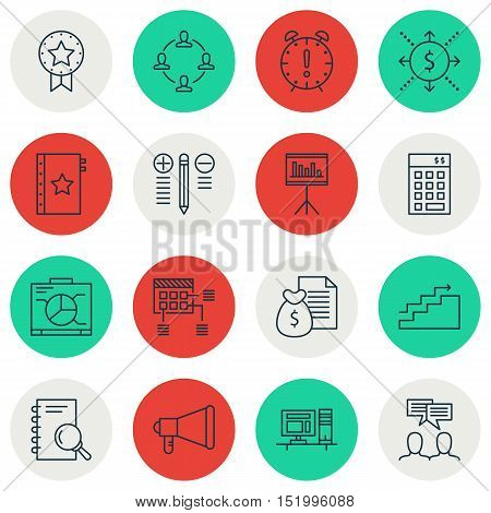 Set Of Project Management Icons On Time Management, Money, Discussion And Other Topics. Editable Vec