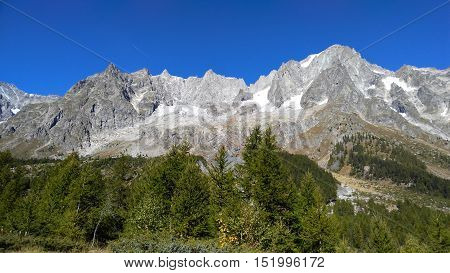 Landscape From Val Ferret, In The Mt.blanc Massif, Summit Of Grandes Jorasses.