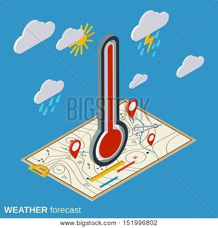 Weather forecast flat isometric vector concept illustration