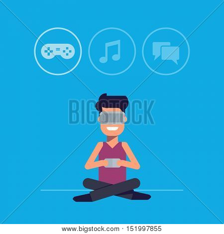 Man with glasses of virtual reality selects the way of entertainment. The web interface of the future. Modern innovative entertainment. New technologies. Man with gamepad or your phone. Flat vector.