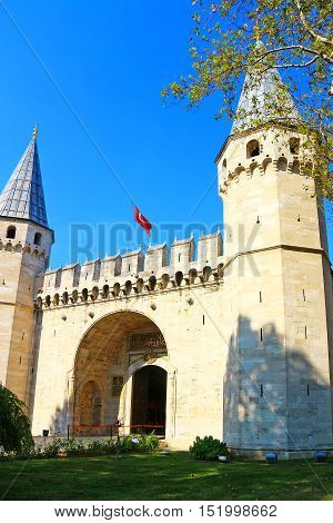 Topkapi Gates - Istanbul, Turkey - View of the Middle Gates Towers in late afternoon sunlight in early autumn