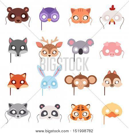 Set of cartoon animals party masks vector.